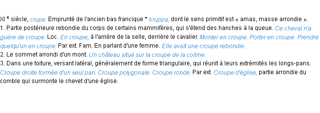 Croup la d finition for Mangeoire synonyme
